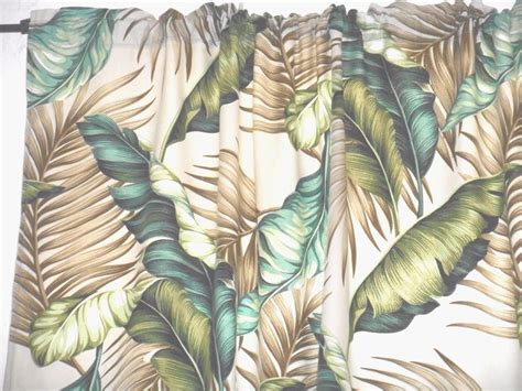 Pair 82x52 Tropical Hawaiian100% Cotton Barkcloth Fabric Drapes ~banana Leaves~ Yellow Sitting Room Curtains Led Curtain Lights India Eyelet Blackout Dunelm Circular Shower Rod Australia Kitchen At Bed Bath And Beyond Bedroom Bedding Sizes Mosquito Door Window