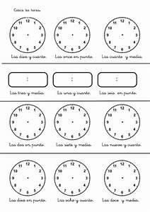 Fichas de las horas del reloj Estudiar y jugar