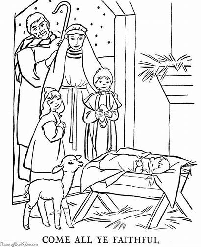 Coloring Pages Christmas Christian Story Nativity Printing