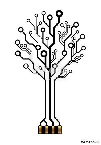 """""""Vector technology tree for logo or icon"""" Stock image and"""
