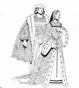 Coloring Renaissance Medieval Pages Adults History Clothing Couple Start Moyen Age Colorier Du Crayons Templates Template sketch template