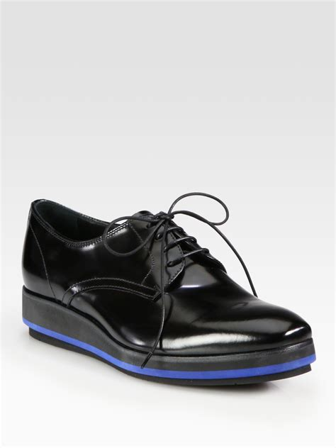 prada spazzolato lace  platform oxfords  black lyst