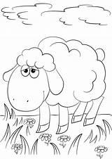 Lamb Coloring Cartoon Pages God Sheep Drawing Grass Sheet Printable Jesus Template Fun Angels sketch template