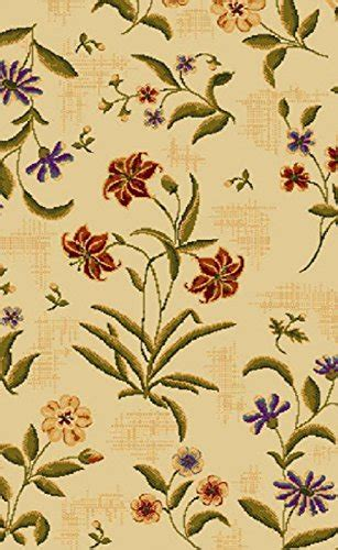 summer flowers beige oval    nylon area rug printed