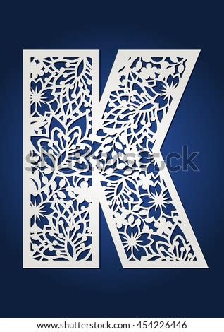 floral paper cut monogram capital letter stock vector royalty   shutterstock