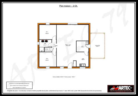 Plan Maison 2 Chambres - plan maison 2 chambres gratuit