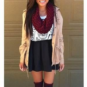 Love the scarf w/ black skater skirt u0026 beige jacket | Fall Outfits | Pinterest | Skirts Teen ...