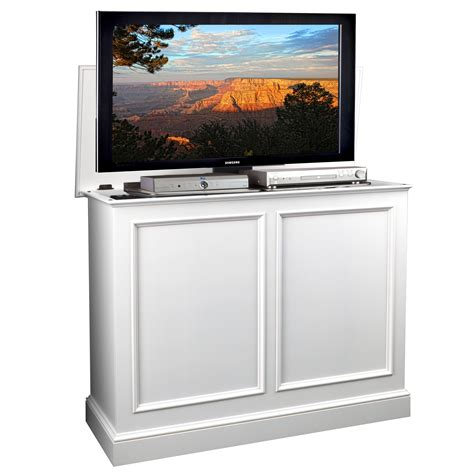tv lift cabinet carousel white tv lift cabinet by tvliftcabinet