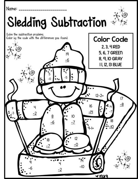 2nd grade math worksheet color by number winter math literacy print and go 2nd grade ccss