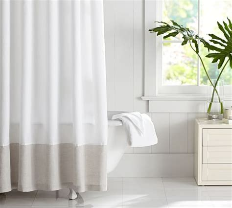 linen banded shower curtain pottery barn