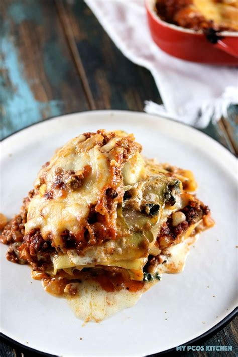 Low Carb Zucchini Lasagna  My Pcos Kitchen  Two Slices