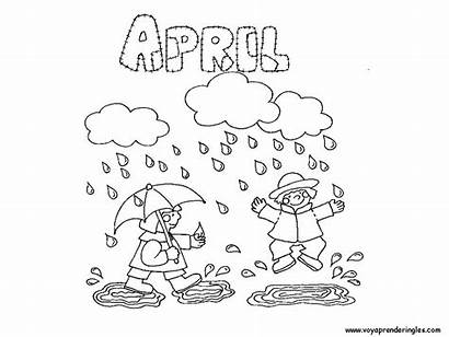 Coloring Pages April Months Showers Meses Colorear
