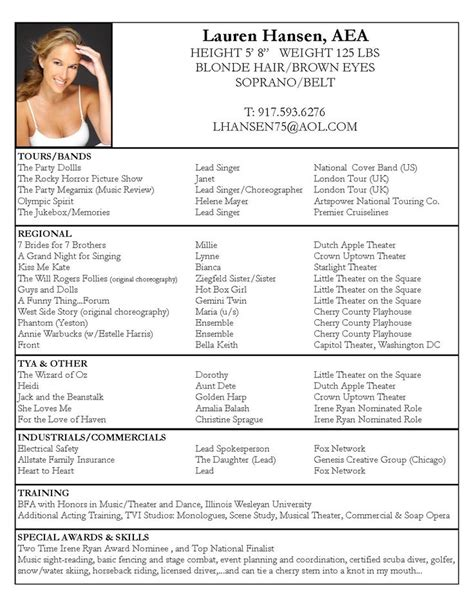 Professional Theater Resume by 25 Best Ideas About Acting Resume Template On