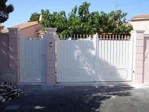 Portail Fer Forgé Plein : portail aluminium plein battant mod le amboise c te ~ Dailycaller-alerts.com Idées de Décoration