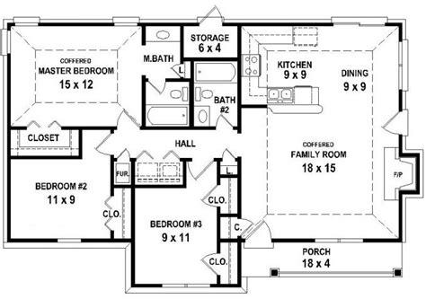 3 bedroom 3 bath house plans 653626 3 bedroom 2 bath house plan less than 1250