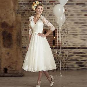 Aliexpresscom buy vestido de noiva curto vintage ivory for Ivory tea length wedding dresses