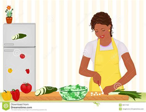 femme africaine faisant cuire la salade dans la cuisine illustration de vecteur illustration