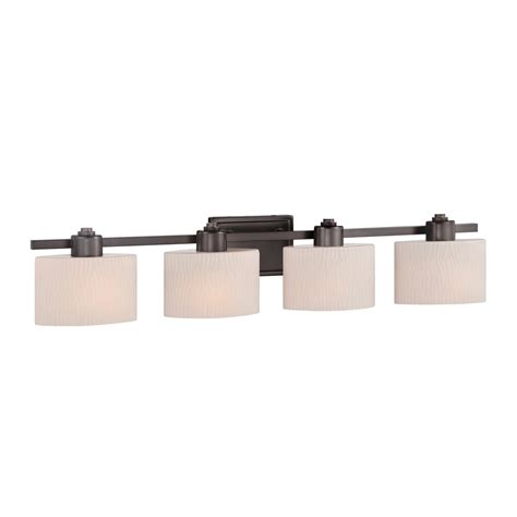 shop allen roth 4 light grayson copper bronze bathroom vanity light at lowes