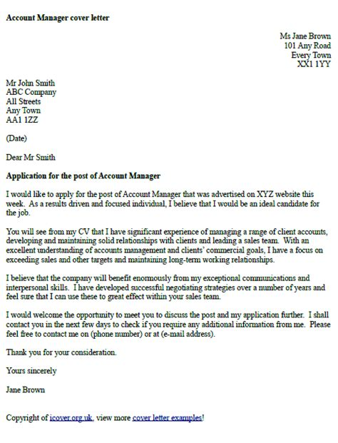 account manager cover letter exle icover org uk