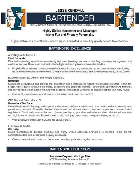 Bartender Resume Templates by Bartender Resume Sle Project Scope Template