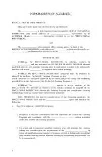 resume template college student internship memorandum of agreement sle
