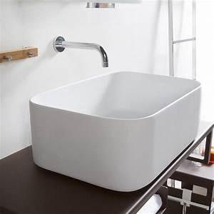 Cipì lavabo da appoggio moderno in resina bianca Super