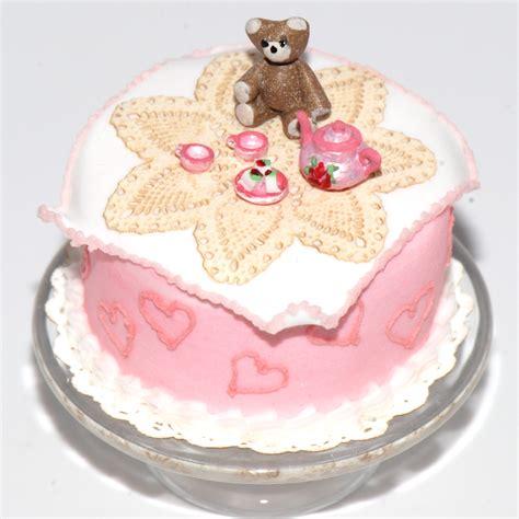 teddy bear picnic cake  tea set stewart dollhouse creations
