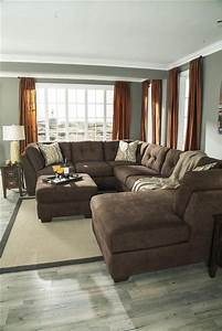 Oversized sectional delta city brown microfiber for Large plush sectional sofa