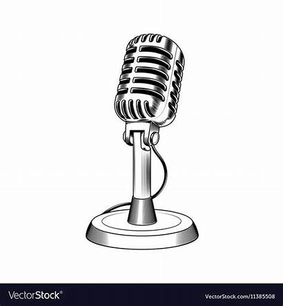 Microphone Clipart Radio Station Engraving Vector Royalty