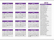 2018 Christian Festivals Calendar Template Free
