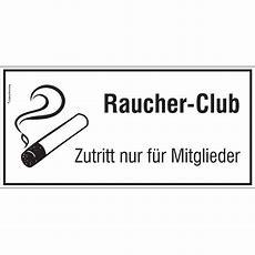 """Hinweisschild Für Gewerbe Und Gastronomie """"raucherclub"""
