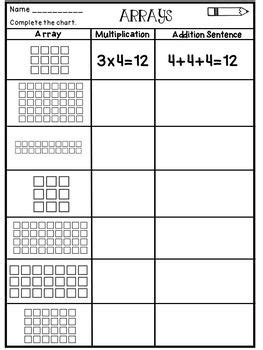 multiplication arrays worksheets awesome third grade