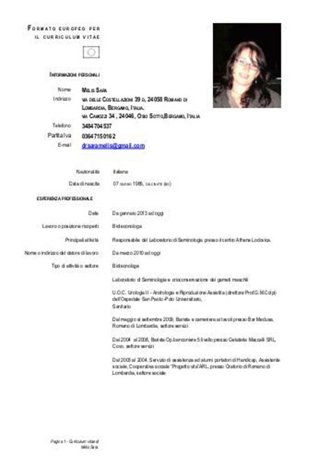 Curriculum Vitae Excel Formato Europeo by Umberto Mariani Cv Formato Europeo Ospedale Di Bergamo