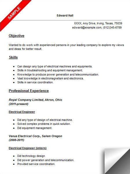 electrical engineer resume sample electrical engineering