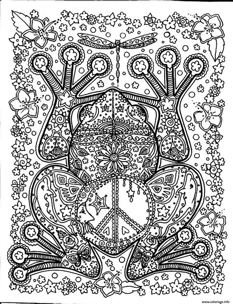 coloriage adulte animaux grosse grenouille dessin