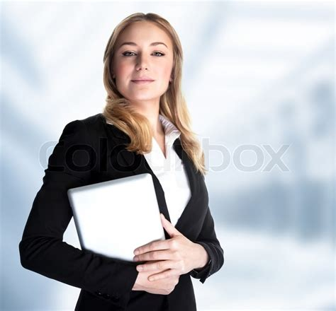 smart business woman holding  hands stock photo