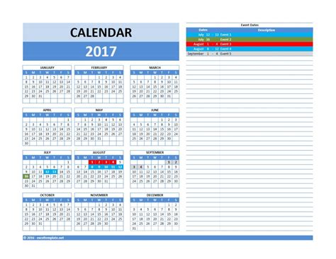 Calendar Template 2017 2017 And 2018 Calendars Excel Templates