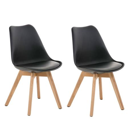chaise en cuir noir lot de 2 chaises de salle à manger scandinave simili cuir