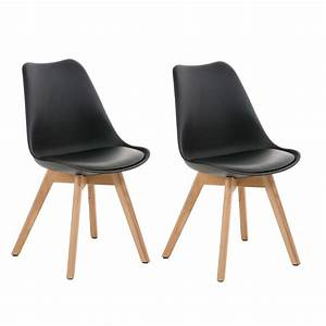 Chaise En Cuir Noir : lot de 2 chaises de salle manger scandinave simili cuir noir pieds bois cds10004 d coshop26 ~ Teatrodelosmanantiales.com Idées de Décoration