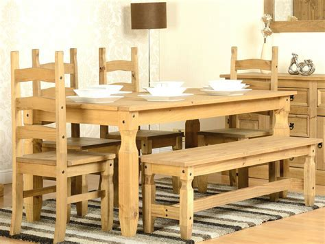 CORONA 6ft Solid Waxed Pine Dining Table with 4 Chairs and