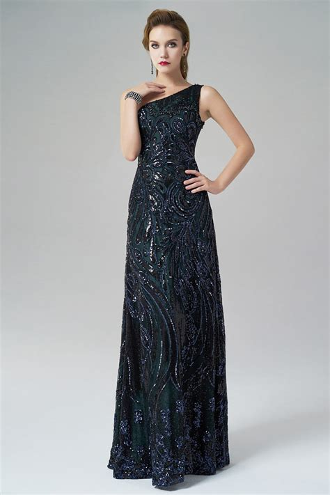 One Shoulder Aline Sequin Floor Length Blue Evening Dress