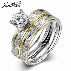 Junxin fashion silver gold colors male female stainless for Wedding rings for male and female