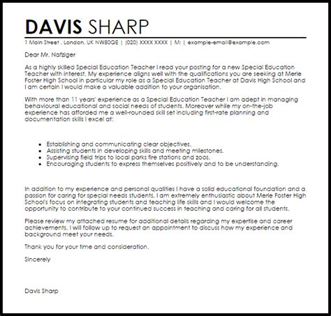 special education cover letter sle livecareer