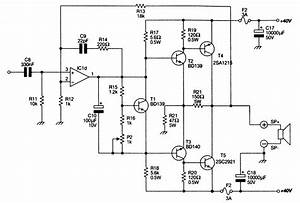 power amplifier ocl 100w with mj802 mj4502 eleccircuitcom With mono amplifier circuit diagram schematics