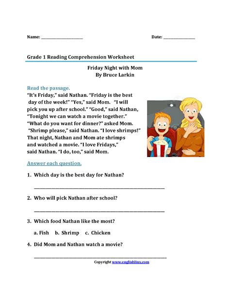 Reading Comprehension Worksheets For 1st Grade  Free Worksheet Printables