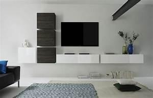 Meuble Tv Blanc Suspendu : meubles tv suspendus blanc brillant et weng cr ez votre espace tv ~ Dode.kayakingforconservation.com Idées de Décoration
