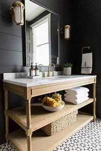 emejing salle de bain noir blanc bois photos amazing With meuble lavabo bois massif 6 meuble sous lavabo meubles salle de bains sous vasque