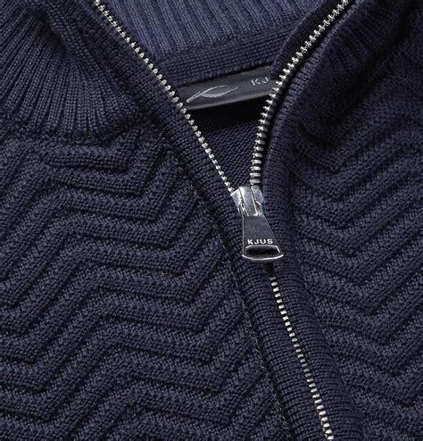 kjus linard wool blend  zip sweater blue kjus