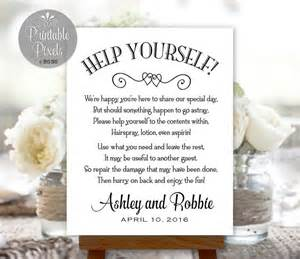 welcome bags for wedding guests bathroom basket sign printable wedding restroom by
