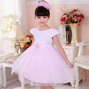 flower girl dresses short sleeve o neck pink girl party With robe tulle bebe